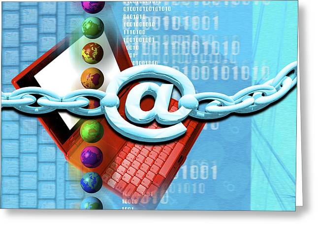 Chain Mail Greeting Cards - Conceptual Computer Artwork Of Internet Security Greeting Card by Victor Habbick Visions