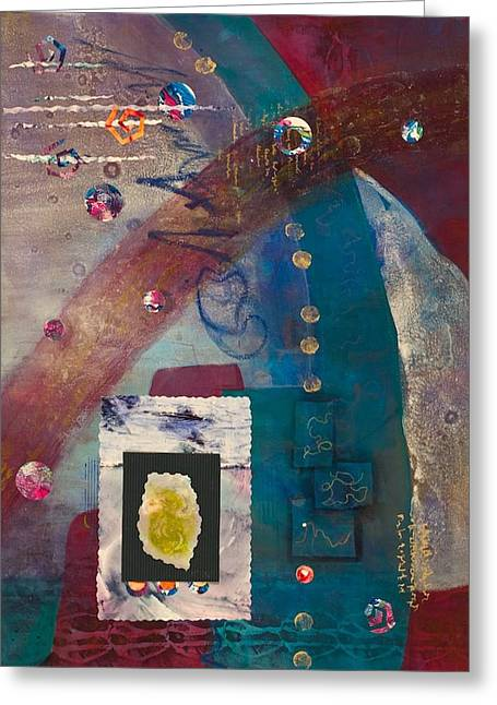 Ultra Modern Mixed Media Greeting Cards - Connections Greeting Card by Marie Cummings