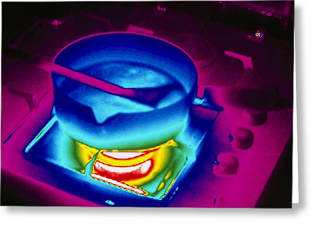 Thermograph Greeting Cards - Cooking On A Gas Stove, Thermogram Greeting Card by Tony Mcconnell