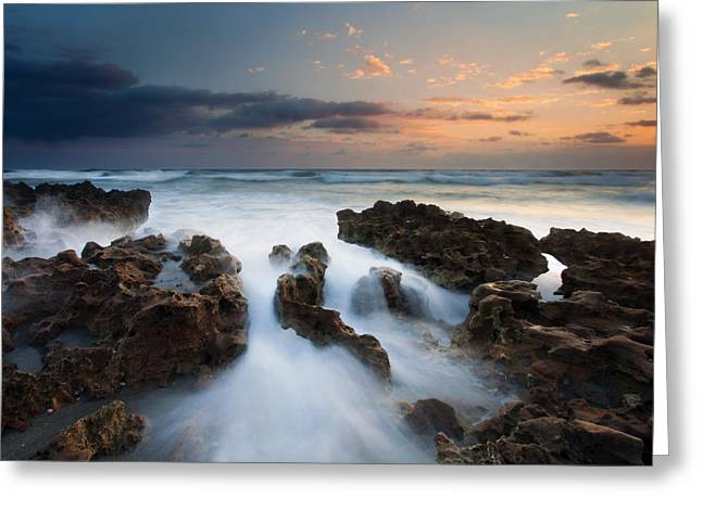 Rocks Greeting Cards - Coral Cove Dawn Greeting Card by Mike  Dawson