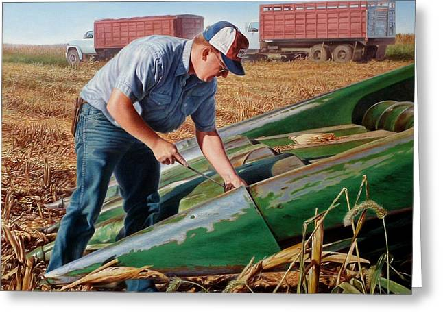 Harvest Time Paintings Greeting Cards - Corn Harvest Greeting Card by Hans Droog