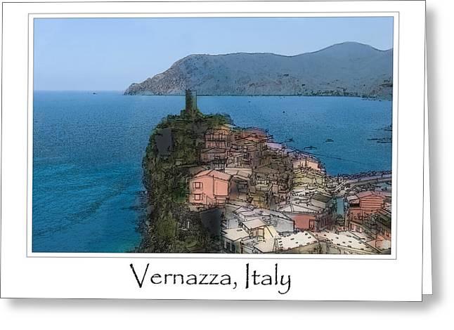 Mediterranean Landscape Digital Art Greeting Cards - Corniglia Cinque Terre Italy Greeting Card by Brandon Bourdages