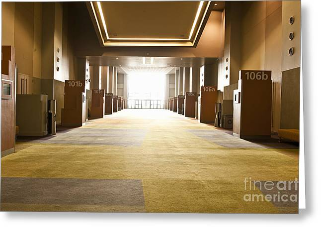 """""""meeting Room"""" Greeting Cards - Corridor in Conference Center Greeting Card by Dave & Les Jacobs"""