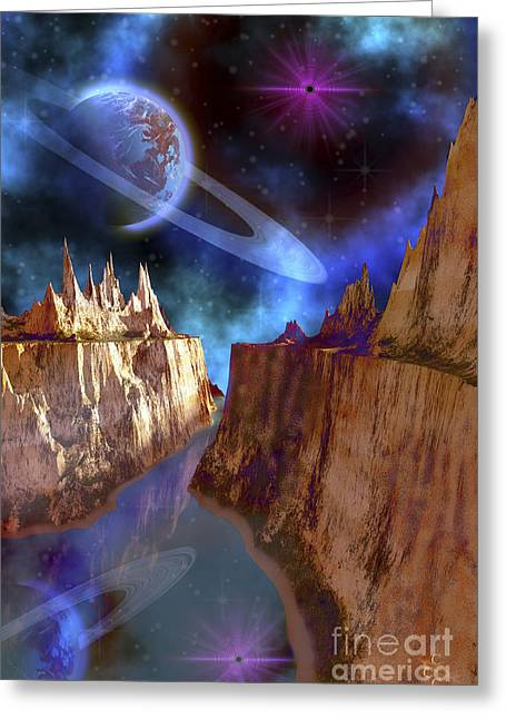 Star Valley Greeting Cards - Cosmic Seascape On Another World Greeting Card by Corey Ford