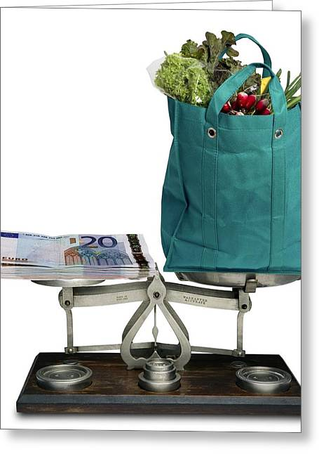 Shopping Bag Greeting Cards - Cost Of Food Greeting Card by Victor De Schwanberg