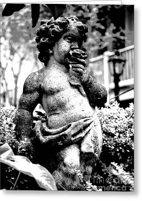 Garden Statuary Greeting Cards - Courtyard Statue of a Cherub French Quarter New Orleans Black and White Conte Crayon Digital Art Greeting Card by Shawn O