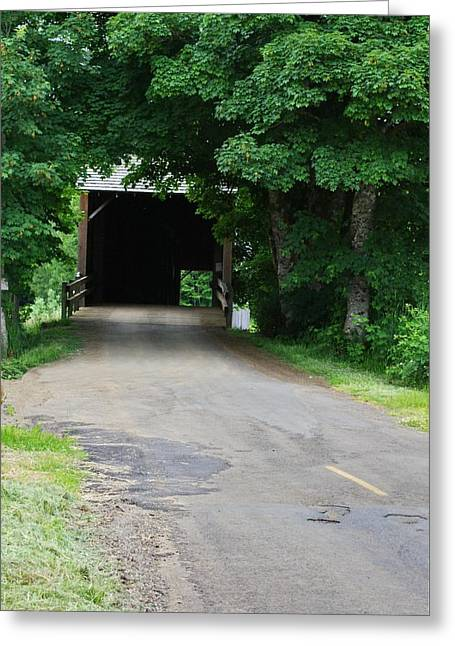Old Roadway Greeting Cards - Covered Bridge Greeting Card by Ansel Price