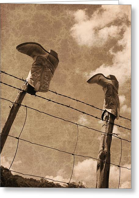 Texas Cowgirl Greeting Cards - Cowboy Boots Greeting Card by Paul Huchton