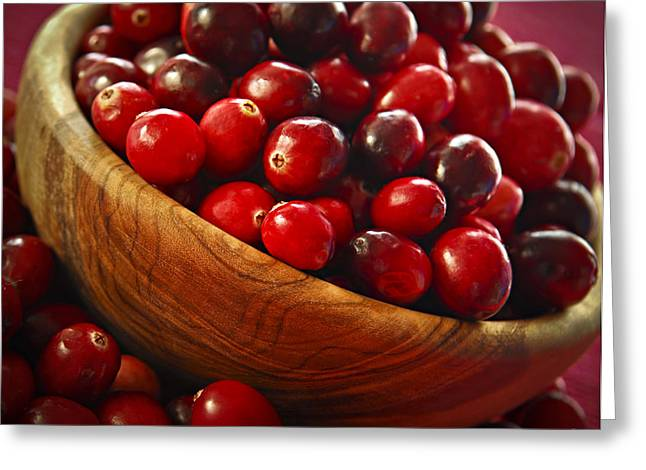 Healthy Greeting Cards - Cranberries in a bowl Greeting Card by Elena Elisseeva