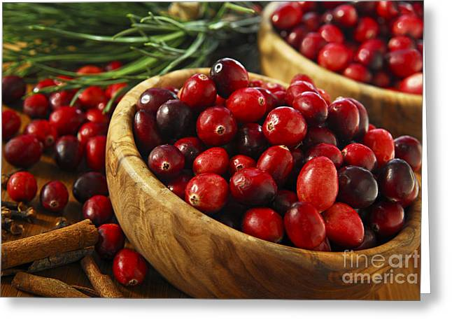 Juicy Greeting Cards - Cranberries in bowls Greeting Card by Elena Elisseeva