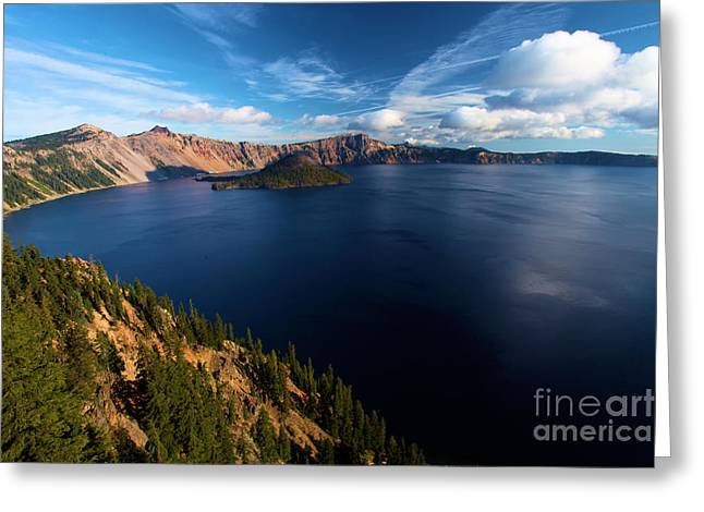 Craters Greeting Cards - Crater Lake Blues Greeting Card by Adam Jewell