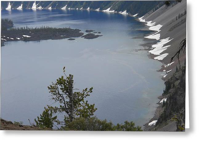 Awesome Pyrography Greeting Cards - Craterlake Greeting Card by Phillip Bittman