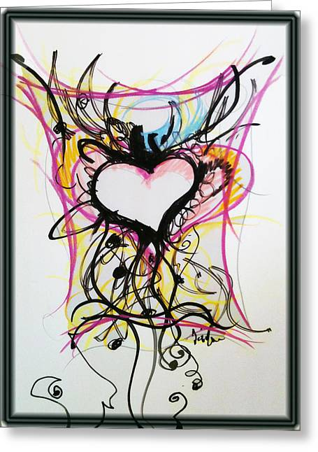 Heart Pastels Greeting Cards - Crazy Heart Greeting Card by Jon Veitch