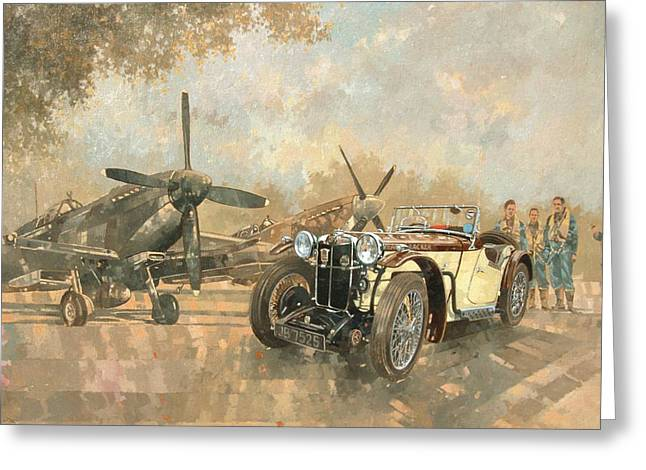 Old Car Greeting Cards - Cream Cracker MG 4 Spitfires  Greeting Card by Peter Miller
