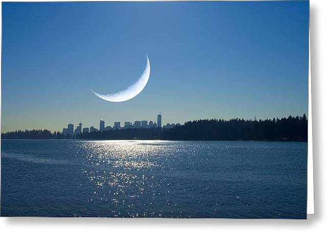 North Vancouver Greeting Cards - Crescent Moon Over Vancouver Greeting Card by David Nunuk