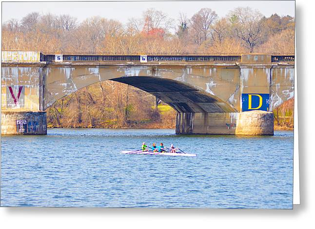 Rowing Crew Digital Art Greeting Cards - Crew Greeting Card by Bill Cannon