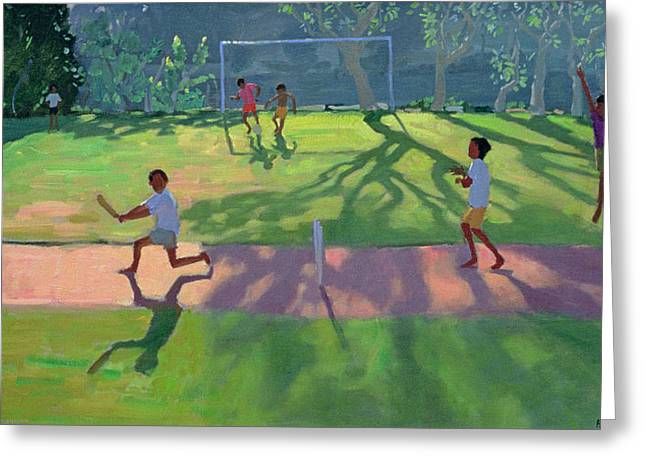 Games Paintings Greeting Cards - Cricket Sri Lanka Greeting Card by Andrew Macara