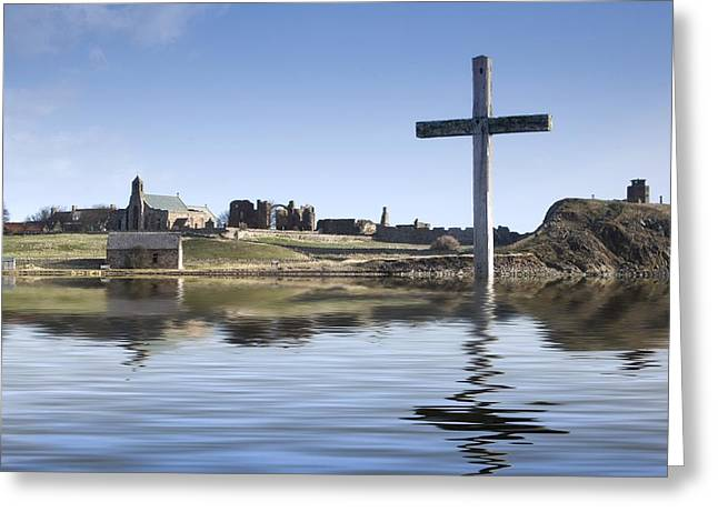 Easter Images Greeting Cards - Cross In Water, Bewick, England Greeting Card by John Short