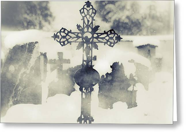 Grave Stone Greeting Cards - Cross Greeting Card by Joana Kruse