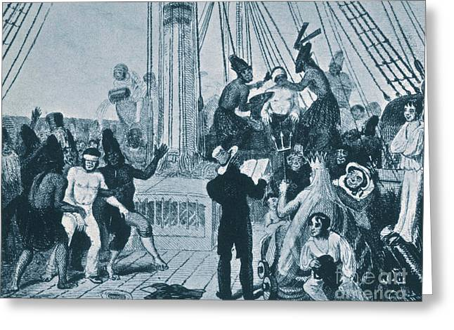 Beagle Artwork Greeting Cards - Crossing The Equator, Hms Beagle, 1832 Greeting Card by Science Source