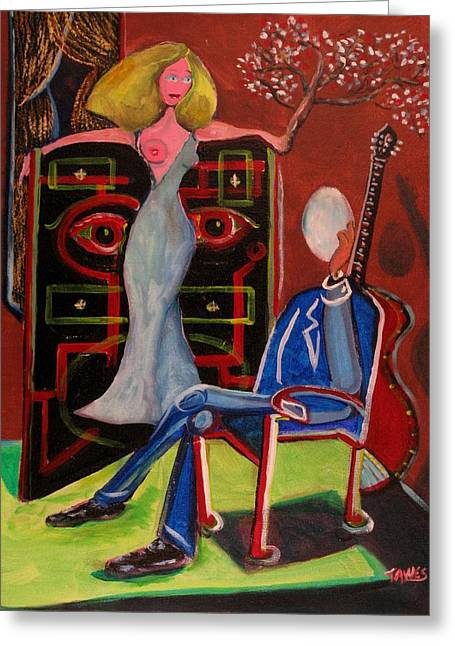 Starlet Paintings Greeting Cards - Crucified Starlet and Her Serenading Egg Greeting Card by Dennis Tawes