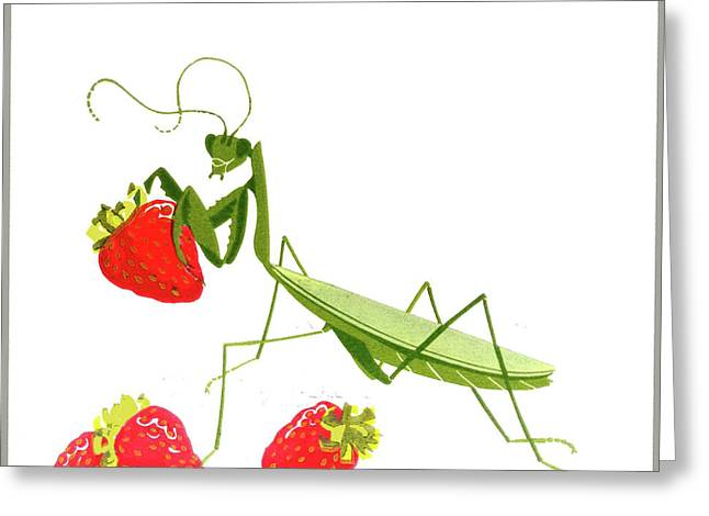 Linocut Digital Greeting Cards - Crunch Greeting Card by Ken Bloomhorst