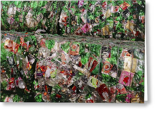 Plastic Bottle Greeting Cards - Crushed Pet Drink Bottles At Recycling Facility Greeting Card by David Nunuk