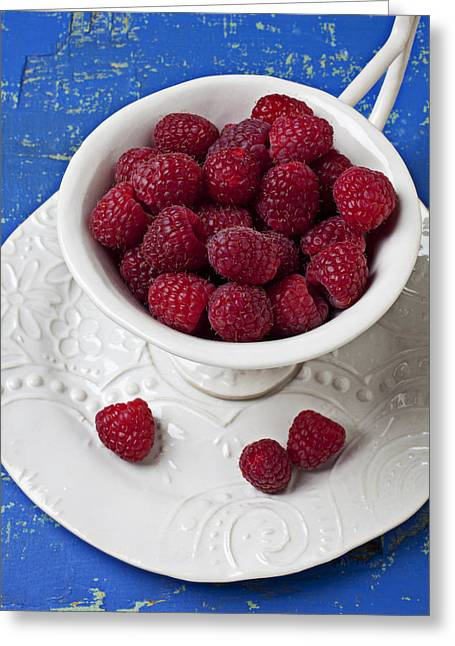 Health Food Greeting Cards - Cup full of raspberries Greeting Card by Garry Gay