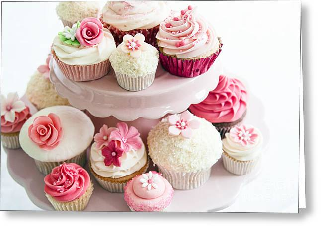 Cake Stand Greeting Cards - Cupcake selection Greeting Card by Ruth Black