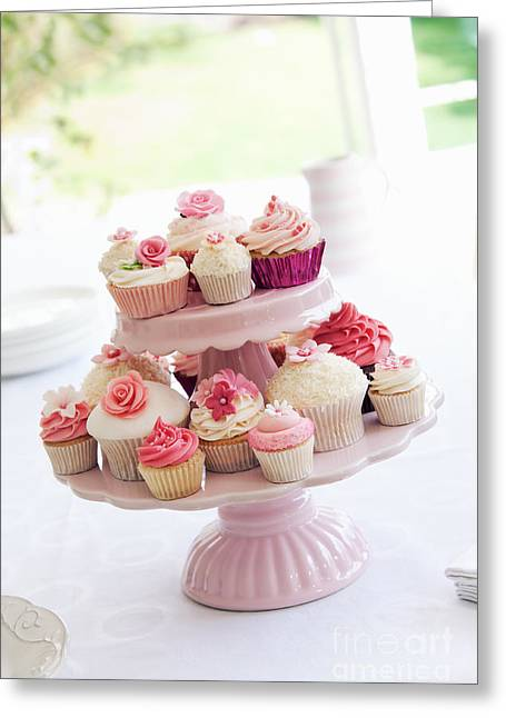 Tea Party Greeting Cards - Cupcake stand Greeting Card by Ruth Black