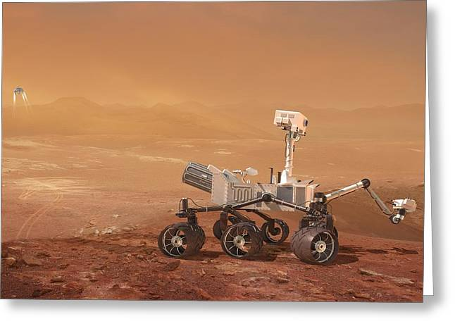 Mars Science Laboratory Greeting Cards - Curiosity Rover On Mars, Artwork Greeting Card by Henning Dalhoff
