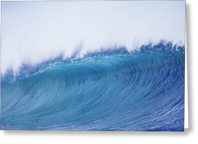 Vince Greeting Cards - Curling Blue Wave Greeting Card by Vince Cavataio - Printscapes