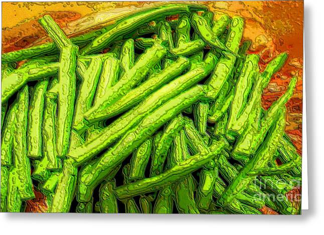 Green Beans Digital Art Greeting Cards - Cut Green Beans Greeting Card by Ron Bissett