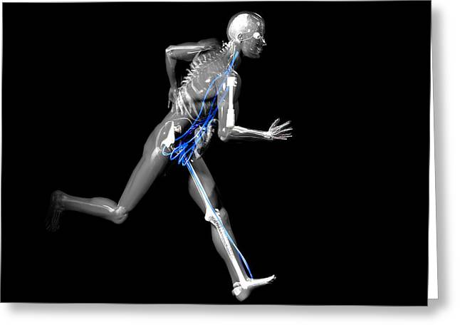Cyborg Greeting Cards - Cyborg Running Greeting Card by Christian Darkin