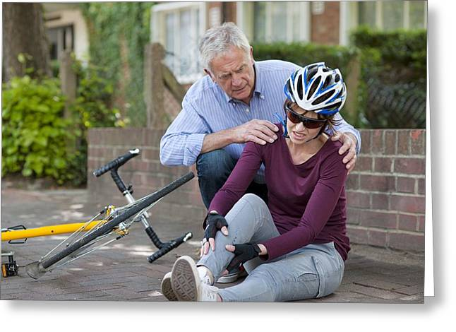 35-39 Years Greeting Cards - Cycling Accident Greeting Card by