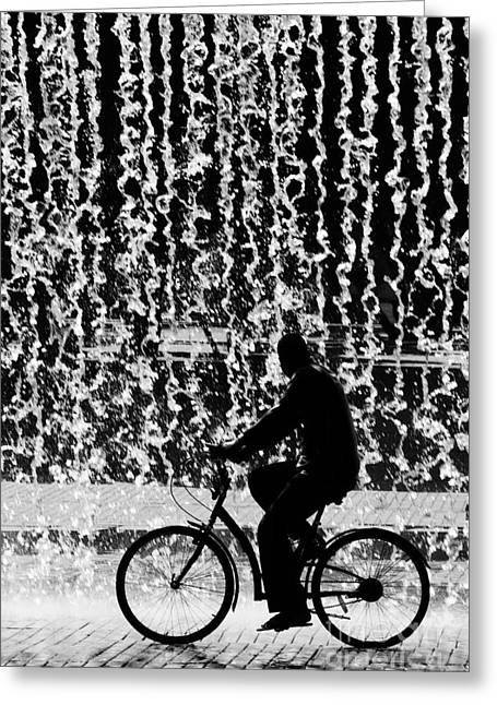 Backdrop Greeting Cards - Cycling Silhouette Greeting Card by Carlos Caetano