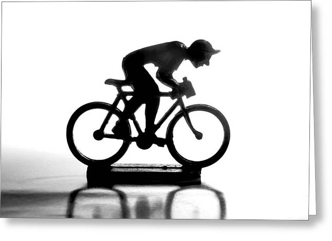 White Background Greeting Cards - Cyclist Greeting Card by Bernard Jaubert