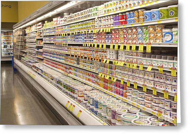 Dairy Aisle In A Grocery Store Greeting Card by David Buffington