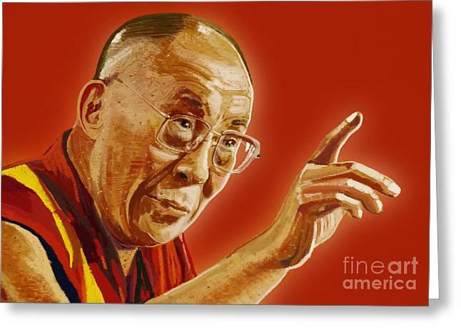 Tibetan Buddhism Greeting Cards - Dalai Lama Greeting Card by Setsiri Silapasuwanchai