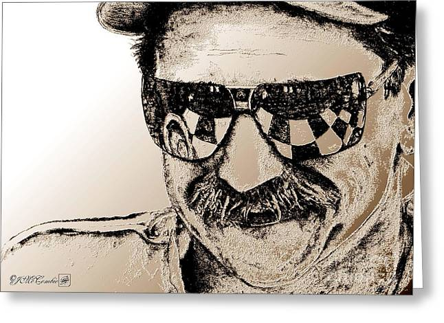 Jem Fine Arts Mixed Media Greeting Cards - Dale Earnhardt Sr in 1995 Greeting Card by J McCombie