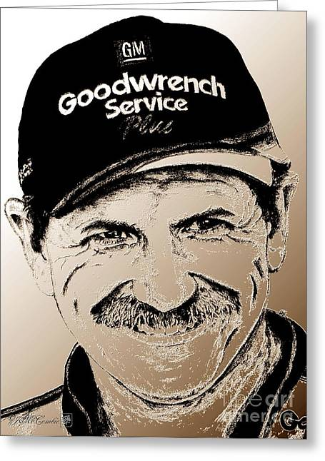 Jem Fine Arts Mixed Media Greeting Cards - Dale Earnhardt Sr in 2001 Greeting Card by J McCombie