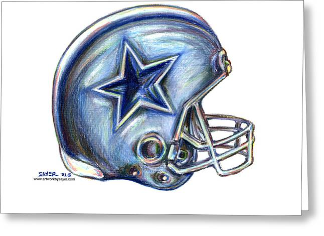 Cowboy Pencil Drawings Greeting Cards - Dallas Cowboys Helmet Greeting Card by James Sayer