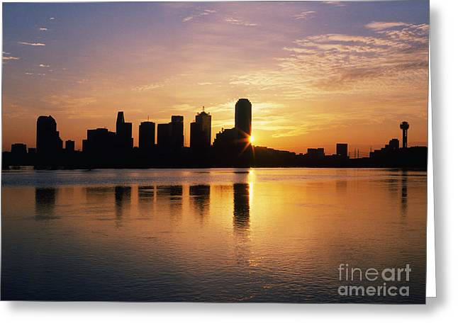 Office Space Photographs Greeting Cards - Dallas Skyline at Dawn Greeting Card by Jeremy Woodhouse