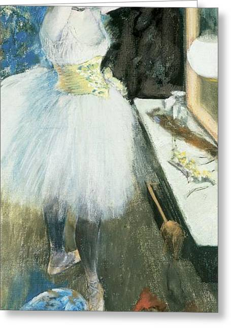 Canvas Pastels Greeting Cards - Dancer in her dressing room Greeting Card by Edgar Degas