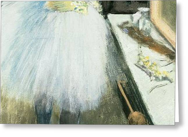 Dancer in her dressing room Greeting Card by Edgar Degas
