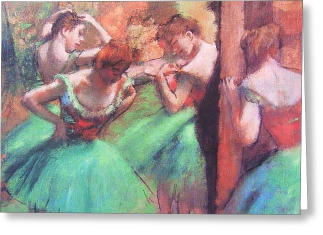 Dancers - Pink and Green Greeting Card by PG REPRODUCTIONS
