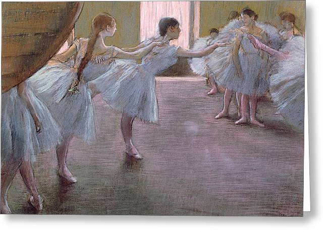 Ballerinas Pastels Greeting Cards - Dancers at Rehearsal Greeting Card by Edgar Degas