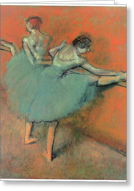 Ballet Bar Greeting Cards - Dancers at the Bar Greeting Card by Edgar Degas