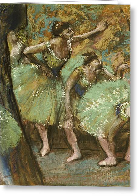 Dancers (pastel) By Edgar Degas (1834-1917) Greeting Cards - Dancers Greeting Card by Edgar Degas