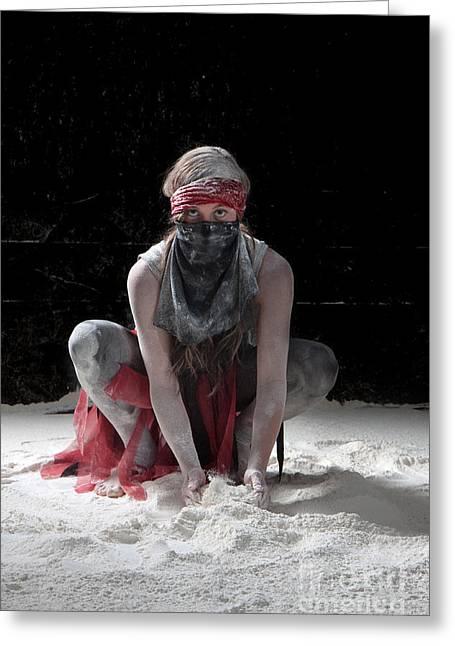 Dancing In Flour Series Greeting Card by Cindy Singleton